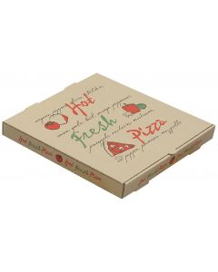 "12"" Hot Fresh Pizza Box Kraft/Kraft (50/cs)"