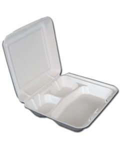 Genpak White Valueware Container 3-cmpt 9x9x3 (200/cs)