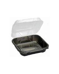 "Genpak ProView Large Hinged Container Black / Clear 9.25"" x 9.125"" x 3"" (2 / 75 cs)"